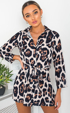 View the Julie Tie Waist Shirt Dress online at iKrush