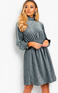 View the Kadi Glitter High Neck Flare Dress online at iKrush