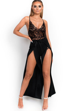 View the Kait High Waisted Tie Split Trousers online at iKrush