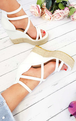 View the Kali Faux Leather Cross Over Roped Wedges online at iKrush