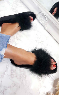 View the Kalisa Faux Fur Feather Sliders online at iKrush