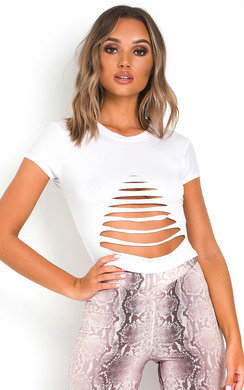 View the Kammy Slashed Cropped T-Shirt online at iKrush