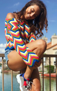 View the Kara Knitted Cropped Zig Zag Jumper  online at iKrush