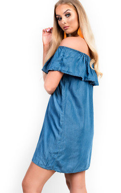 View the Kara Off Shoulder Denim Dress online at iKrush