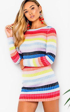 View the Kari Striped Long Sleeved Jumper Dress online at iKrush