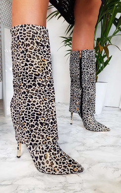 View the Karrie Fold Over Leopard Print Boots online at iKrush