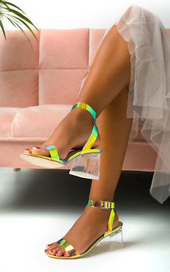 View the Kasey Barely There Iridescent Block Heels online at iKrush
