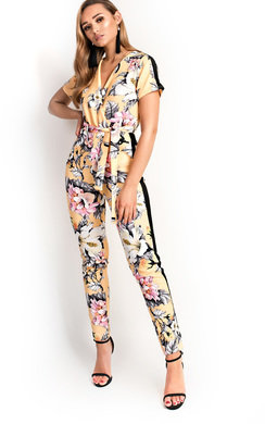 View the Kelsi Floral Belted Stretch Jumpsuit online at iKrush