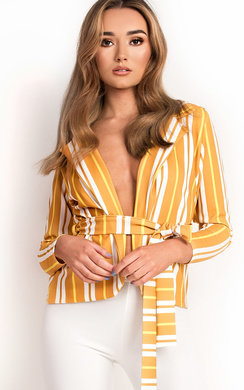 View the Kassidy Striped Belted Tie Blazer  online at iKrush