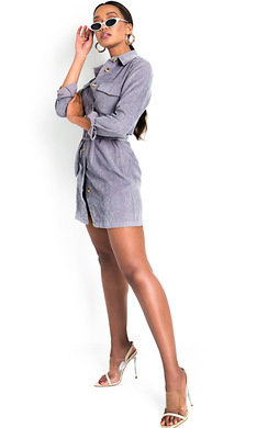 View the Kassie Cord Tie Waist Shirt Dress online at iKrush