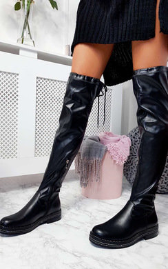 View the Kat Faux Leather Over Knee Boots online at iKrush