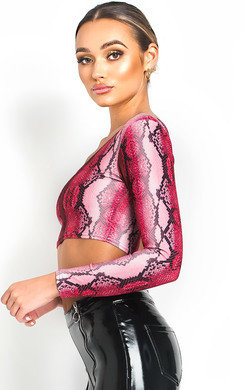 View the Kat One Shoulder Snake Crop Top online at iKrush