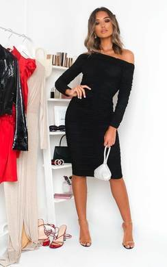 View the Katarina Off Shoulder Bodycon Midi Dress online at iKrush