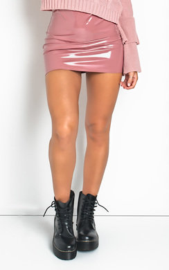 View the Kati Wet Look Mini Skirt  online at iKrush
