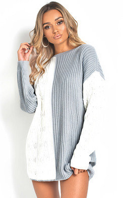 View the Katie Knitted Two-Tone Jumper Dress online at iKrush
