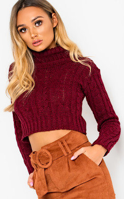 View the Katya Chunky Knit High Neck Cropped Jumper online at iKrush