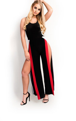 View the Katya Slinky Sleeveless Split Striped Jumpsuit online at iKrush