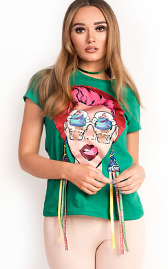 View the Kaya Embellished Graphic T-Shirt online at iKrush