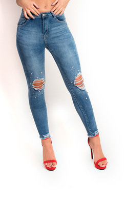 View the Kayla Embellished Distressed Jeans  online at iKrush