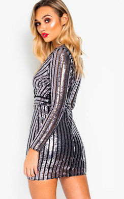 View the Kayla Sequin Bodycon Striped Dress  online at iKrush
