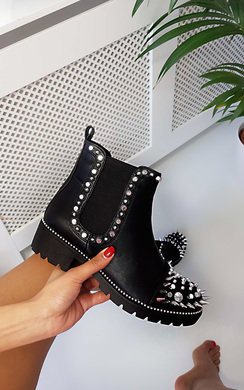 View the Kayleigh Spike Studded Ankle Boots online at iKrush