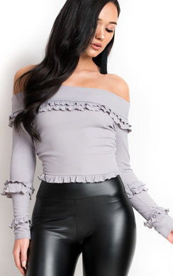 View the Keira Bardot Frill Crop Top online at iKrush