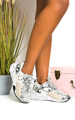 View the Kelli Snake Print Chunky Speckled Trainers online at iKrush