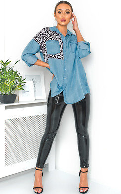 View the Kelsie Animal Print Long-Lined Shirt online at iKrush
