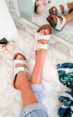 View the Kendall Double Buckle Studded Sliders online at iKrush