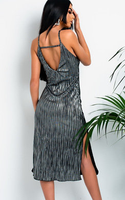 View the Kennedy Metallic Striped Midi Dress online at iKrush