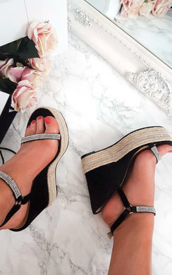 View the Kerisa Faux Suede Embellished Roped Wedges  online at iKrush