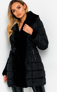 View the Kerry Faux Fur Lined Long Puffer Jacket online at iKrush