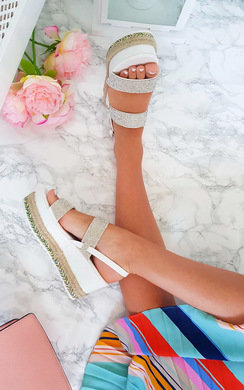 View the Kesha Roped Flatform Diamante Sandals online at iKrush