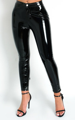 View the Kezz High Shine PU Trousers online at iKrush