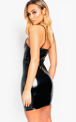 View the Khadijah Slinky PVC Bodycon Dress online at iKrush