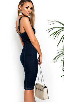 View the Kiara Denim Bodycon Midi Dress online at iKrush