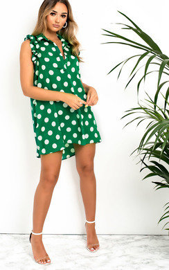 View the Kiki Frill Polka Dot Shirt Dress online at iKrush