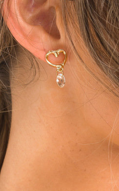 View the Kiki Heart Drop Diamante Earrings  online at iKrush