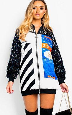 View the Kiki Long sleeve Oversized Bomber Jacket online at iKrush