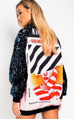 View the Kiki Long sleeve Oversized Bomber Jacket online at iKrush