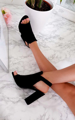 View the Kimberly Suede Peep Toe Heels online at iKrush
