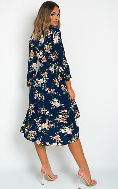 View the Kimmie Floral Print Midi Dress online at iKrush