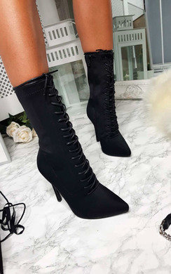 View the Kimmie Lycra Lace Up Heeled Boots online at iKrush
