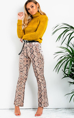 View the Kirby High Waist Snake Print Velour Trousers  online at iKrush