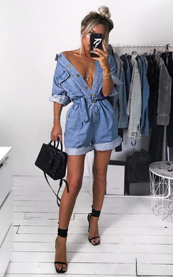 View the Kirstee Oversized Denim Playsuit  online at iKrush