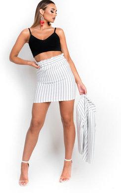 View the Kirti Paperbag Pin-Striped Skirt online at iKrush