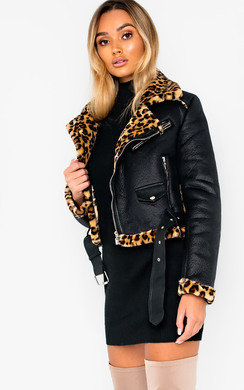 View the Kizzy Leopard Biker Jacket online at iKrush