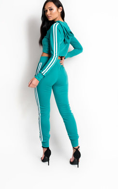 View the Klaudia Stripe Hooded Crop Tracksuit online at iKrush