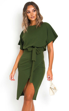 View the Koni Tie Waist Batwing Midi Dress  online at iKrush