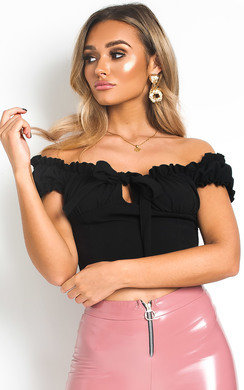 37946481aa00d0 View the Kora Frill Bardot Tie Crop Top online at iKrush